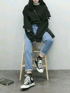 K fashion casual, korean fashion styles, korean outfit street styles, korea K Fashion Casual, Daily Fashion, Grunge Fashion, 90s Fashion, Trendy Fashion, Fashion Models, Casual Outfits, Fashion Outfits, Style Fashion