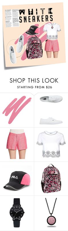 """Refrain from Heels but not in Pink"" by mikomaws ❤ liked on Polyvore featuring Post-It, NARS Cosmetics, Vans, Joie, Topshop, Fila, Hadaki and Marlin Birna"