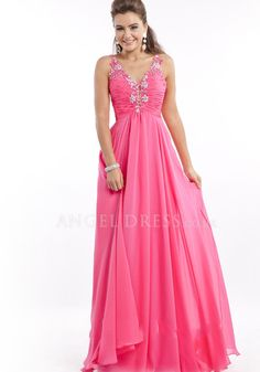 Floor Length A line Straps Natural Waist Cross Back Chiffon Prom Dresses