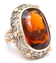 Madeira Citrine & Rose Diamond Ring   From a unique collection of vintage cocktail rings at http://www.1stdibs.com/jewelry/rings/cocktail-rings/