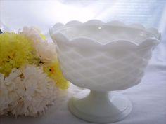Milk Glass Compote Vintage White Pedestal Shape