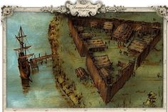 Jamestown Colony 1607. The first Permanent British Settlement in the new World. Good drawing of the colony.