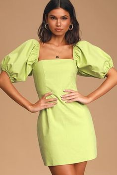 The Lulus Square To Next? Lime Green Puff Sleeve Mini Dress is always up for a sunny day adventure! Square-neck mini dress with elasticized puff sleeves. Dresses For Teens, Summer Dresses For Women, Cute Dresses, Casual Dresses, Cotton Summer Dresses, Women's Dresses, Dresses Online, Summer Outfits, A Line Mini Skirt