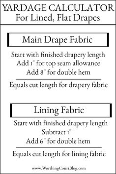 How To Make A Lined, Flat Drapes Just Like The Pros Do - It's Easy! Yardage calculator for how to make lined, flat draperies panels using the same methods as professional workrooms. Curtains And Draperies, No Sew Curtains, Pleated Curtains, Sheer Drapes, Home Curtains, How To Make Curtains, Drapery Panels, Window Drapes, Hanging Curtains