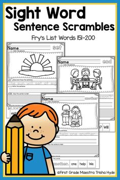 Your Kindergarten and First Grade Students will learn to read their Fry List Sight words with these no prep printable Fluency Sentence activities. Your students will enjoy learning sight words with these Printable Sentence Scrambles. Each senten Learning Sight Words, First Grade Sight Words, Word Study, Word Work, Student Reading, Guided Reading, Sight Words Printables, Sight Word Sentences, Sentence Building