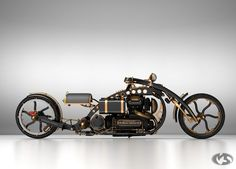 'Black Widow' steampunk chopper motorcycle