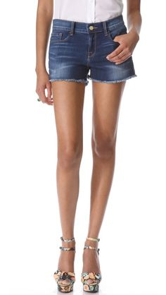 FRAME Denim Le Cutoff Denim Shorts (Shopbop, $159.00) - perfect basic denim shorts, 5 pocket styling, faded creases, dark wash, frayed edges, super stretch denim, classic Americana.