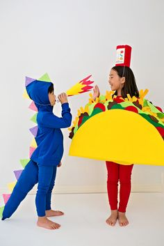 DIY Dragons Love Tacos Halloween Costume for Kids. Cute and easy no-sew costume.