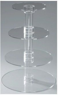 TTLIFE 4 Tier Crystal Clear Circle Round Acrylic Cupcake Tower