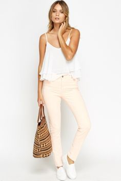 Peach Slim Leg Jeans Slim Fit Trousers, Slim Legs, Get The Look, White Jeans, Peach, Zip, Model, Cotton, Pants