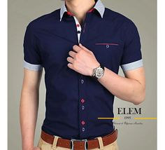 Camisas Sport Hombre Elegante Fit Slim Mod019 - U$S 49,99 en Mercado Libre Stylish Shirts, New Fashion, Polo Ralph Lauren, Tee Shirts, Men Casual, Shirt Dress, Mens Tops, Clothes, Slim