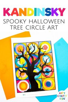 Looking for easy art projects featuring Kandinsky art for kids circles for children to make at home or at school? This Kandinsky inspired Halloween tree craft for kids is fun + simple to make with our printable template. Get templates + instructions for these easy Halloween art projects for kids + other easy Halloween crafts for kids here! Kandinsky art for kids project ideas | Kandinsky art for kids | Kandinsky circle art for kids ideas | Halloween Arts and Crafts for Kids #HalloweenCrafts