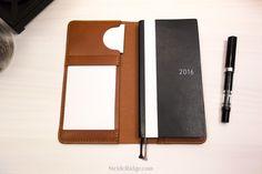 Leather Hobonichi Weeks Cover, Index Card Holder, Chestnut