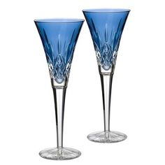 Waterford Stemware, Colour Me Lismore Toasting Flutes, Set of 2 - Waterford Crystal Stemware - Dining & Entertaining - Macy's Waterford Lismore, Waterford Crystal, Crystal Champagne, Champagne Glasses, Toasting Flutes, Crystal Glassware, Glass Crystal, Cut Glass, Glass Art