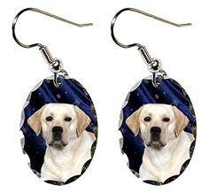 "Labrador Retriever Earrings. Super lightweight and small. Ovals measure just 0.875"" x .6"". Made of aluminum with a scalloped edge. The ear wires are silver plated. Packaged in a black, velour covered, jewerly box."