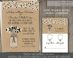 Mason Jar Wedding Invitation Rustic Mason Jar by NotedOccasions