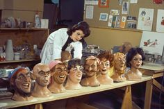 """Disney Imagineer Leota Toombs Thomas (seen here in an episode from Walt Disney's Wonderful World of Color television show, """"Disneyland: From the Pirates of the Caribbean to the World of Tomorrow"""") works on figures for Pirates of the Caribbean, which opened to the public March 18, 1967.  Leota was the original face of the ghostly medium Madame Leota from WED's other big Audio- Animatronics® attraction: The Haunted Mansion."""