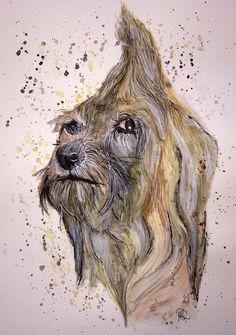 Aquarell - nasser Hund - Aquarell - Original - fine art - ein Designerstück von mizzonybaby bei DaWanda