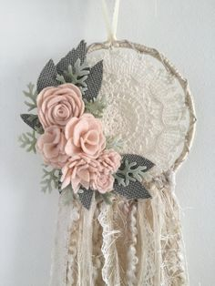 Felt flower crochet doily dreamcatcher by wiltedrosewreaths