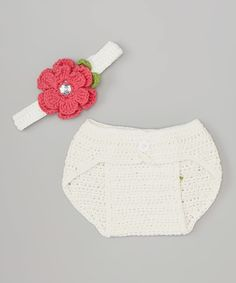Loving this Pink Rose Crocheted Diaper Cover & Headband - Infant on #zulily! #zulilyfinds