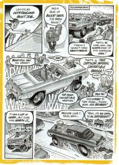 Krass and bernie Cartoons Magazine, Bell Art, Garage Art, Car Illustration, Bucket Seats, Art Cars, Beautiful Day, Hot Rods, Pin Up
