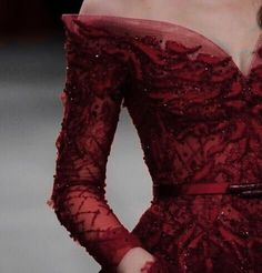 Annetté / sequinned and embroidered red oxblood dress