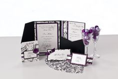 Wedding ensemble with place card, Save the date and the wedding invitation.