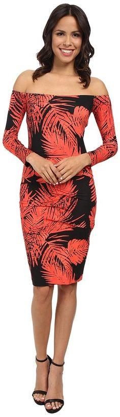 Nicole Miller Palm Batik Off Shoulder Dress