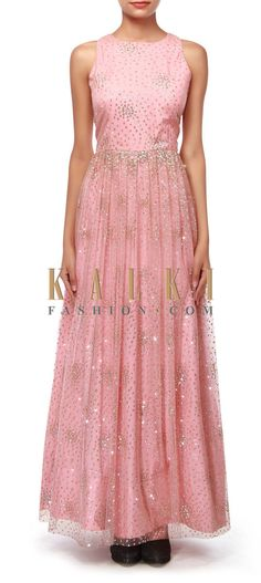 Buy Online from the link below. We ship worldwide (Free Shipping over US$100).  http://www.kalkifashion.com/pink-anarkali-suit-adorn-in-net-only-on-kalki.html