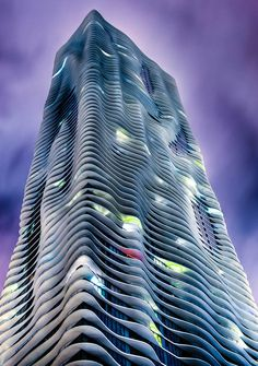 Aqua Building by Night by Dave Wilson // Chicago - named the Emporis Skyscraper Award 2009 skyscraper of the year
