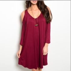 """CRANBERRY KNIT JERSEY DRESS Flowy jersey knit dress features exposed shoulders, long sleeves and scooped neckline. 65% rayon 35% viscose. Small measures L35"""" B19"""" W20"""" S - 1 M - 2 L - 1 Please comment size needed below.  PLEASE DO NOT BUY THIS LISTING. Allow me to make your separate listing for you or help you make a bundle ❤️.  NO PAYPAL NO TRADES. Price is firm unless bundled. Dresses"""