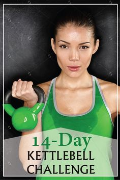 Kettlebell Challenge Spice up your workout routine with kettlebells! Begin this 14 Day Kettlebell Challenge tomorrow.Spice up your workout routine with kettlebells! Begin this 14 Day Kettlebell Challenge tomorrow. Kettlebell Training, Circuit Kettlebell, Kettlebell Challenge, Kettlebell Benefits, Kettlebell Deadlift, Dumbbell Workout, Interval Training, Fitness Workouts, Fitness Herausforderungen