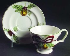 Noble Excellence Holly Bells Flat Cup & Saucer Set