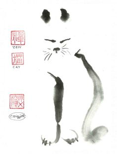 The mystery of the cat sitting in the sun perfectly still. Is she meditating, connecting to the ancient feline lineage, or just catching a few z's. This sumi-e image is SOLD Asian Cat, Japanese Cat, Easy Watercolor, Japanese Artists, Pretty Cats, Ink Painting, Ink Art, Art Techniques, Creative Art