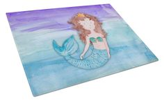 Brunette Mermaid Watercolor Glass Cutting Board Large BB7422LCB