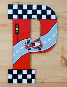 13 Inch Race Car theme Hand Painted Wooden by LaceysCraftyLetters