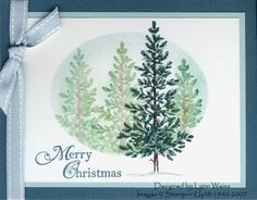 handmade Christmas card from LW Designs: Stamp Set - Lovely As a Tree ... luv how she masked the oval and then sponged color and stamped trees with the poppin pastels technique ... elegant sing tree stamped in dark colors after mask remove ... Stampin' Up!