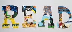Classic Mystery Read Letters -- Set of 4 Read Letters, Big Letters, Classroom Signs, Classroom Themes, Letter Set, Letter Wall, Teacher Canvas, Mouse Silhouette, Painting Wooden Letters