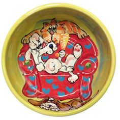 "Poodle, 10"" Dog Bowl for Food or Water. Personalized at no Charge. Signed by Artist, Debby Carman. ~~ For you to view further for this item, visit the image link. (This is an affiliate link and I receive a commission for the sales)"