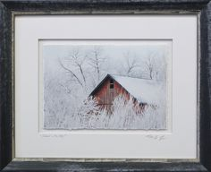 The shimmery silver on this frame cuts the harshness of the black and calls to mind the shimmer of snow on a barn roof #framedart #americana