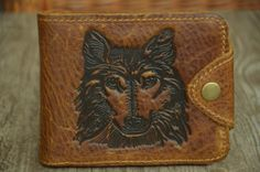 Mens Wallet Tan Brown Leather Wallet Wolf Head Wallet For Cowboy by SherryJewelry, $26.00