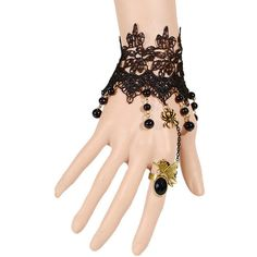Gothic Lace Spider Bracelet With Ring ($7.14) ❤ liked on Polyvore featuring jewelry, bracelets, lace jewelry, goth jewelry, gothic jewelry and gothic jewellery
