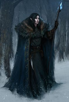 f High Elf Wizard N Robes Cloak Staff Dagger Magic Book Mixed forest winter snow ArtStation Nora by Uros Sljivic med High Fantasy, Fantasy Women, Fantasy Rpg, Medieval Fantasy, Fantasy Artwork, Dungeons And Dragons Characters, Dnd Characters, Fantasy Characters, Fantasy Character Design