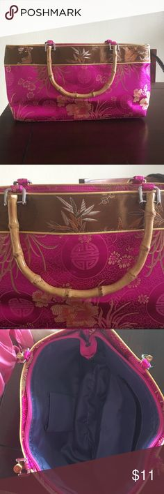 Oriental Style Purse Bright Pink oriental style silk and wood handle fashion forward bag! Zipper closure, inside zipper pocket! Bags