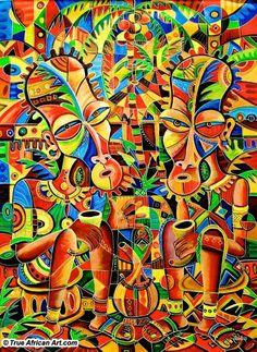 Art from Cameroon: Angu Walters Original African Paintings for Sale – True African Art African Art Paintings, Arte Tribal, Geometric Painting, African Artists, Afro Art, Human Art, African American Art, Aboriginal Art, Psychedelic Art