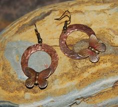 Copper Ring and Brass Butterfly earrings by solagratiadesigns, $27.00