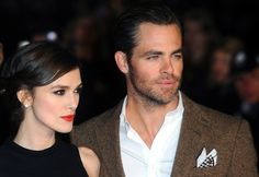 Keira Knightley and Chris Pine attend the UK Premiere of 'Jack Ryan: Shadow Recruit' at Vue Leicester Square on January 20, 2014 in London, England.