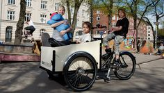 We have a great bike sharing program in Montreal, but we need some of these for parents who have to drop their kids off at school and day care! Boxcycles by Christiania Bicycles of Denmark.