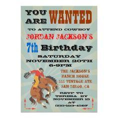 Bucking Bronco Cowboy Birthday Party Invitaiton Announcement