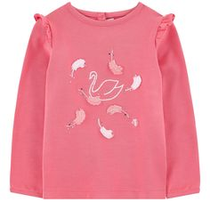 Modal and cotton jersey Super stretch Crew neck Long sleeves Flounces on the shoulders Snap buttons in the back Embroideries   Fancy rhinestones Embroidered monogram - w16-17